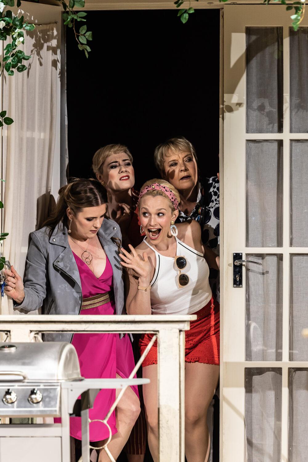 Elin Pritchard - Alice   Angela Simkin - Meg Page   Rhian Lois - Nannetta   Susan Bickley - Quickly   Photo © Clive Barda}