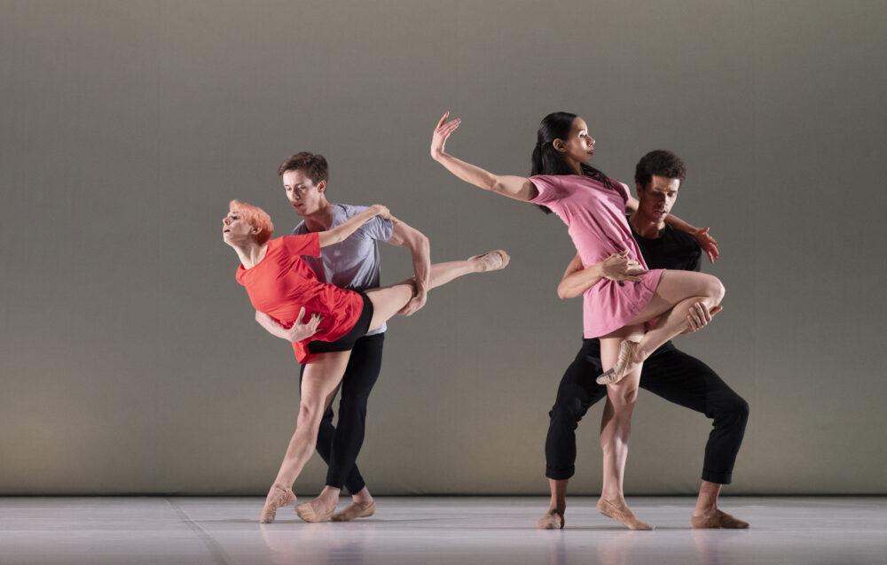 Daniela Neugebauer - Company Wayne McGregor | Fukiko Takase - Company Wayne McGregor | Calvin Richardson - The Royal Ballet | Joseph Sissens - The Royal Ballet | Bach Forms | Choreography - Wayne McGregor |  Photo © Ravi Deepres}