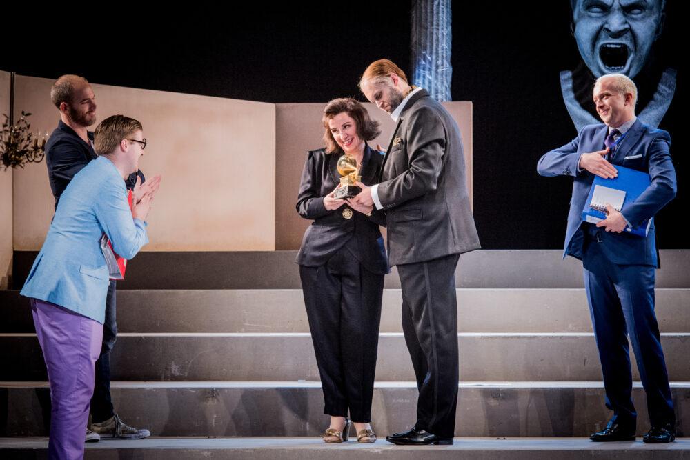 Christopher Ainslie - Ottone | James Hall - Narciso | Anna Bonitatibus - Agrippina | Ashley Riches - Claudio | Alex Otterburn - Pallante | Photo © Robert Workman}