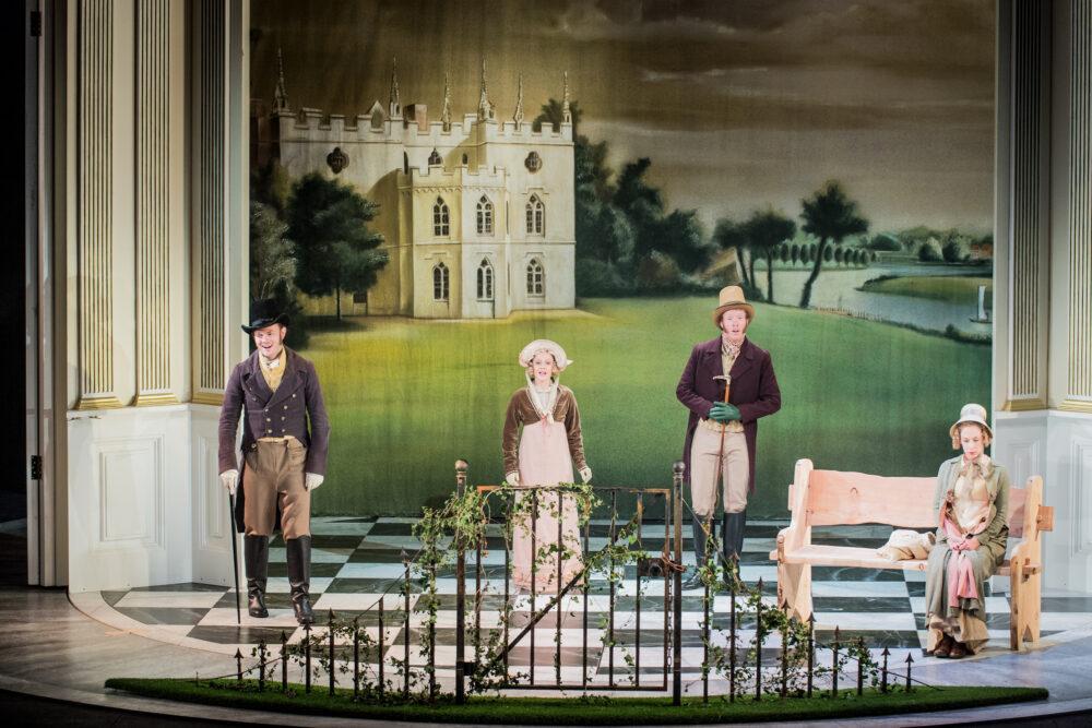 Henry Neill - Edmund Bertram   Emily Vine - Julia Bertram   Oliver Johnston -Mr Rushworth   Martha Jones - Fanny Price   Photo © Robert Workman}